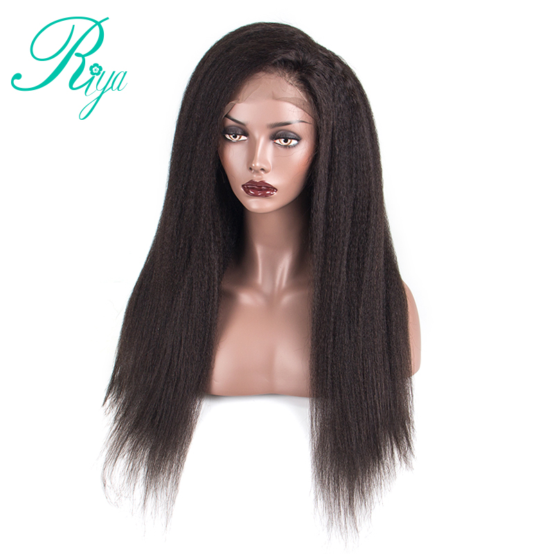 360 Lace Frontal Wig Brazilian Kinky Straight Human Hair Wigs For Black Women Front 150 Plucked