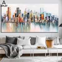Modern Landscape Oil Painting Brooklyn Bridge Poster New York Canvas Art Wall Picture for Living Room Decoration (No Frame)