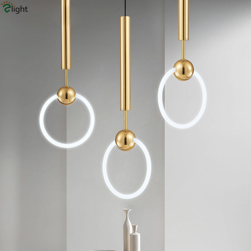 Modern Simple Lee Broom Ring Led Pendant Lights Gold Metal