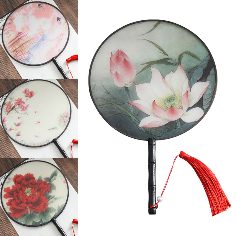 Chinese Style Translucent Embroidery Round Fan Retro Small Fan Dance Decorative Props Home Decoration Exquisite Gifts