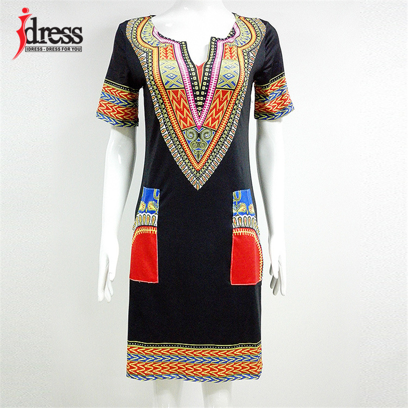 IDress S-XXXL Plus Size Sexy Casual Summer Dress Women Short Sleeve Party Dresses 2017 Black Vintage Traditional Printed Dresses (1)