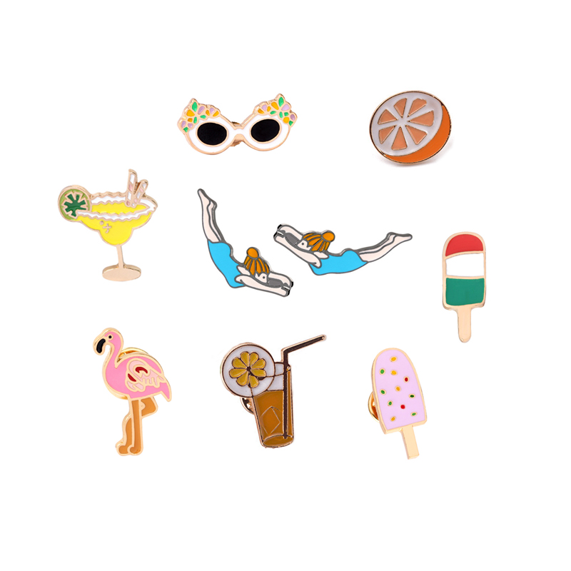 Cartoon Flamingo Watermelon Popsicle Sunglasses Orange Lemon Juice Sports Girl Enamel Brooch Denim Jacket Decoration Button Pins