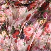 145*100 سنتيمتر عالية الجودة أقمشة الحرير زهرة كبيرة نمط المرأة اللباس ، دمى رث شيك الفراش النسيج اللحف