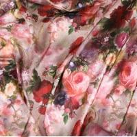 145 100cm High Grade Silk Satin Big Flower Style Fabrics For Women S Dress Dolls Shabby