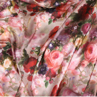 145*100cm High-grade satin big flower style fabrics For women's dress,dolls shabby chic Bedding Textile Quilting