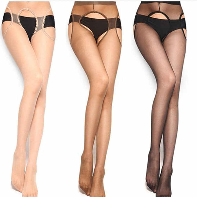 Sexy Open Crotch Stockings Female Erotic Pantyhose Sexy Lingerie Tights Hot Sheer Thigh High Stockings Black Lace Top Garter