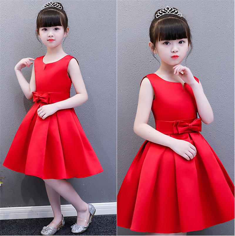 2018 New Girl Kids Beautiful Elegant Birthday Holiday Dress Red Babies Bridesmaid Wedding Dress Kids Ball Gown Bow Party Dress kids bow detail 2 in 1 dress