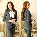 Novelty Grey New Fashion Long Sleeve Formal Blazers Jackets Coat For Business Women Office Ladies Blazer Outwear Unifoms