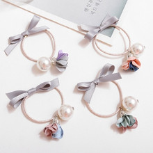 New 4PCS Flower Pearl Bow Elastic Hair Bands 4 Colors Simulation Floral Women Girl Headwear Rubber Bands Hair Accessories