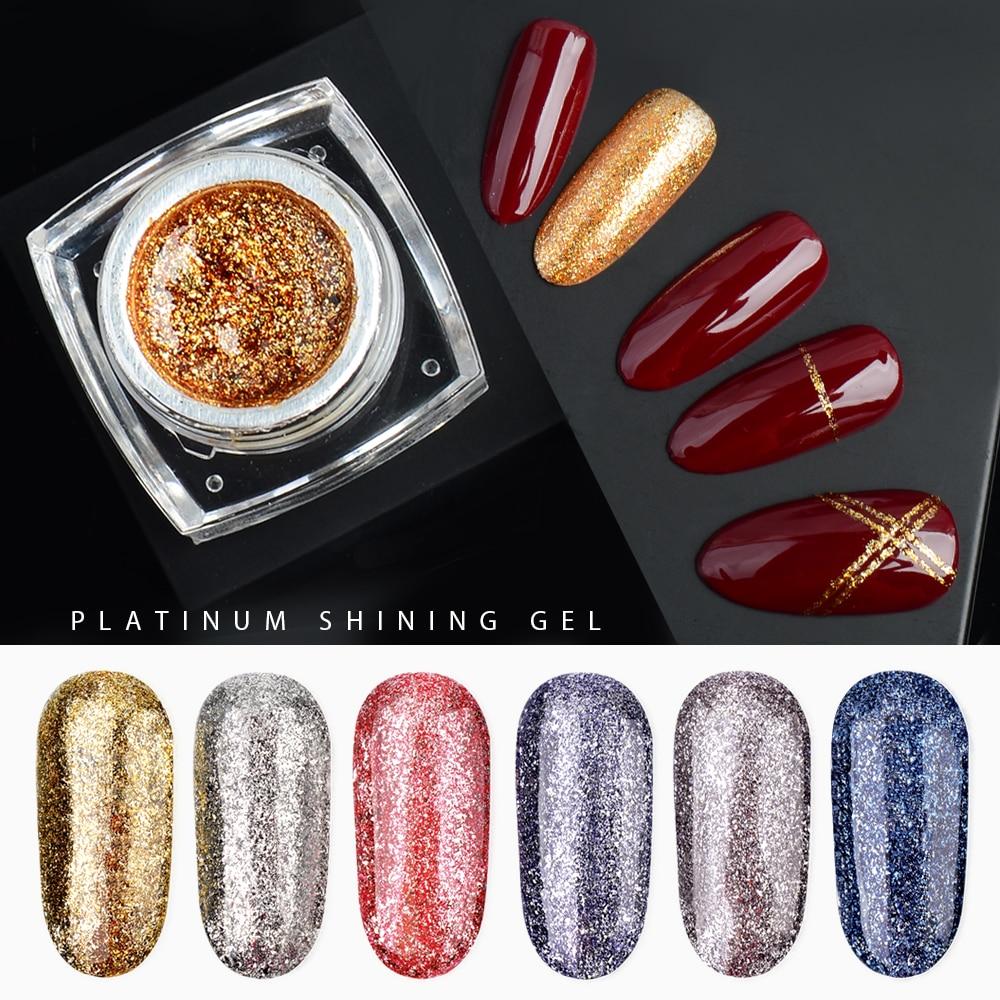 Fengshangmei 5g лак Гель-лак 12 Цветов гибридный УФ гель-лаки для ногтей Сияющий ногтей Платиновый Гель-лак