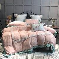2018 лампа Цветы Розовый постельное белье королева ковровое покрытие набор постельное бельё из египетского хлопка крышки Чехлы на подушки с