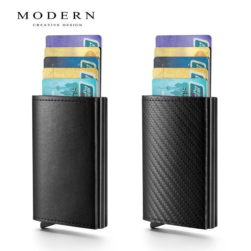 Carbon Fiber Antitheft Wallet Automatic Slide Card Holder Credit Card Wallet Men Wallets RFID Blocking