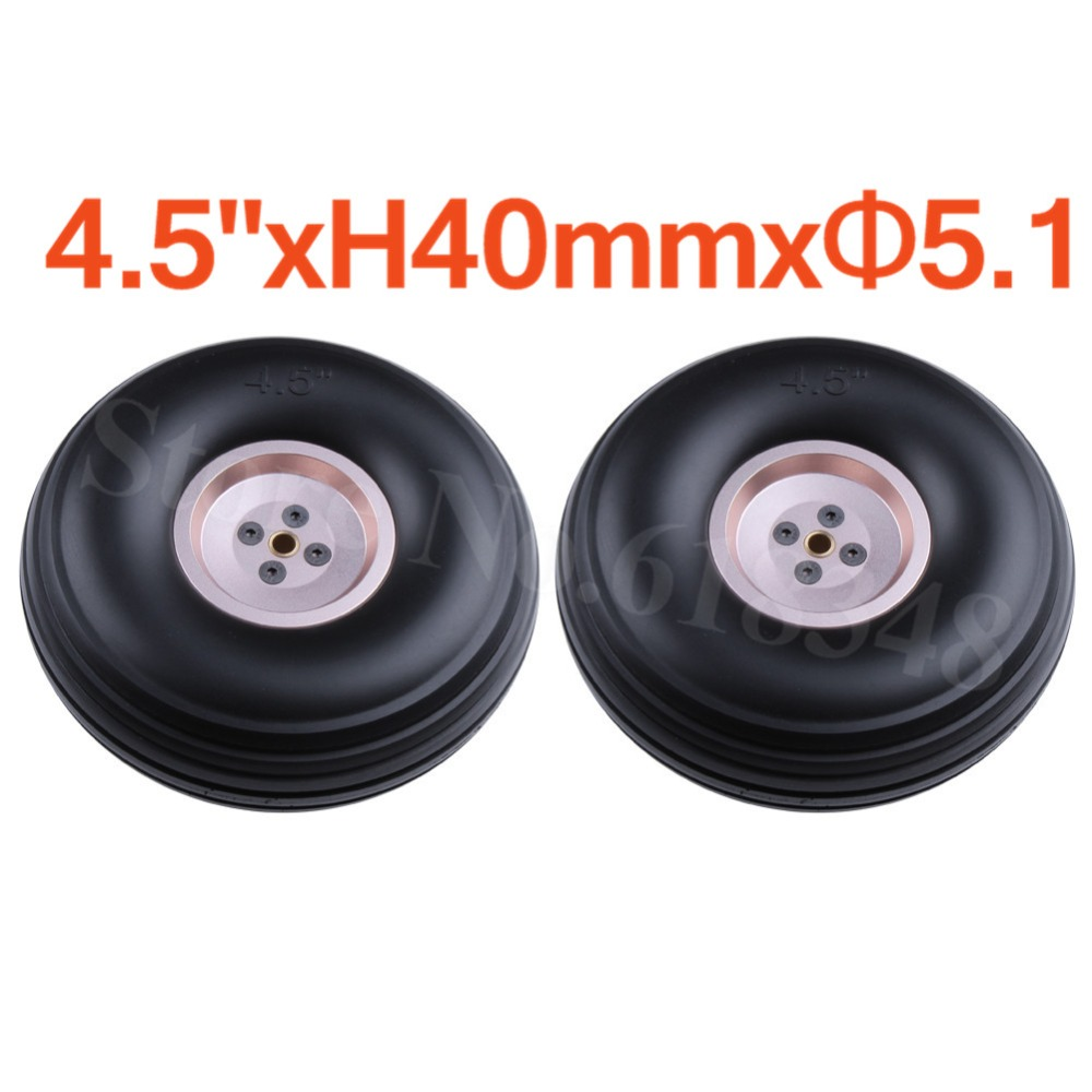 2pcs 4.5/ 114mm Quality Rubber Wheels Tires Aluminum Hub Core Thickness:40mm Axle hole: 5.1mm For RC Airplane Replacement Parts image