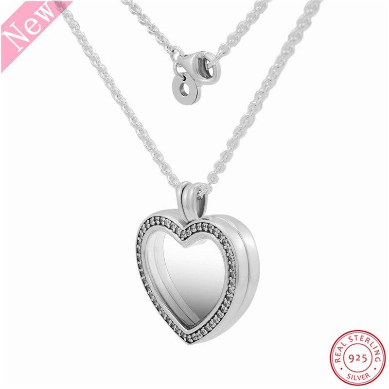 Image 3 - 60 cm moyen pierre clouté étincelant flottant coeur médaillon  pendentif colliers pour femmes bijoux en réel 925 argent Sterling  FLN069Colliers