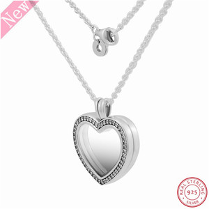 Image 3 - 60cm Medium Stone Studded Sparkling Floating Heart Locket Pendant Necklaces for Women Jewelry in Real 925 Sterling Silver FLN069