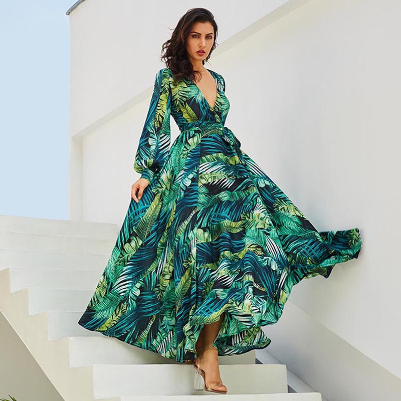 Boho Tropical Print Maxi Long Jurk Casual V-hals Riem Lace Up Tuniek - Dameskleding