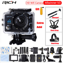 Action Camera 4K HD WIFI 1080P 170 degree camcorder waterproof 30M Sport camera EXTra Chest Strap+Head Strap+Monopod
