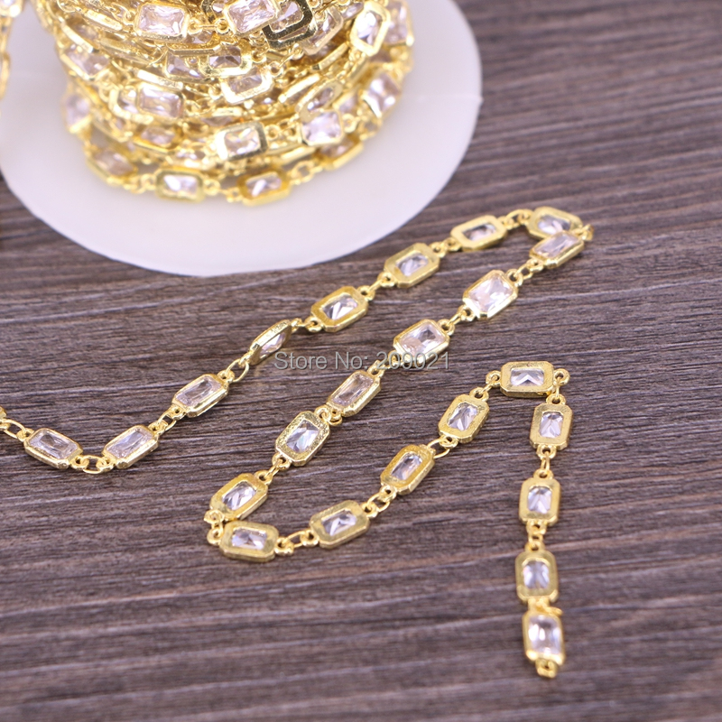 Finding DIY 3 Meter Cubic Zirconia Brass Chain 4x6mm Rectangle Beaded Chain For Jewelry Making