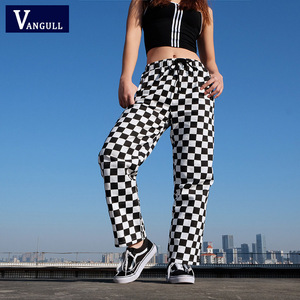 Image 2 - Vangull ekose pantolon bayan yüksek bel damalı düz gevşek ter pantolon rahat moda pantolon Pantalon Femme Sweatpants