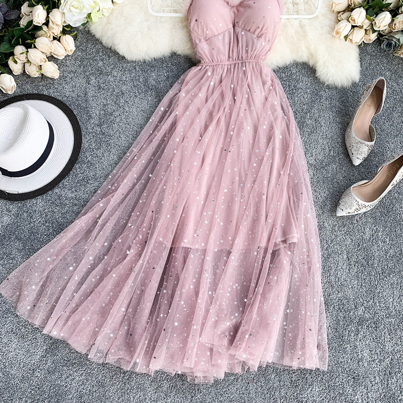 Sequins V-Neck Gauze Ruffles Mesh A-Line Dress 7