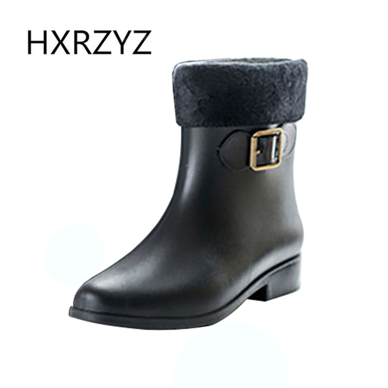 2017 Spring/autumn and summer Woman new Fashion Rain Boot Non-slip Beige and black Plus cotton Rubber Boots And ankle rain shoes john paul mueller beginning programming with python for dummies