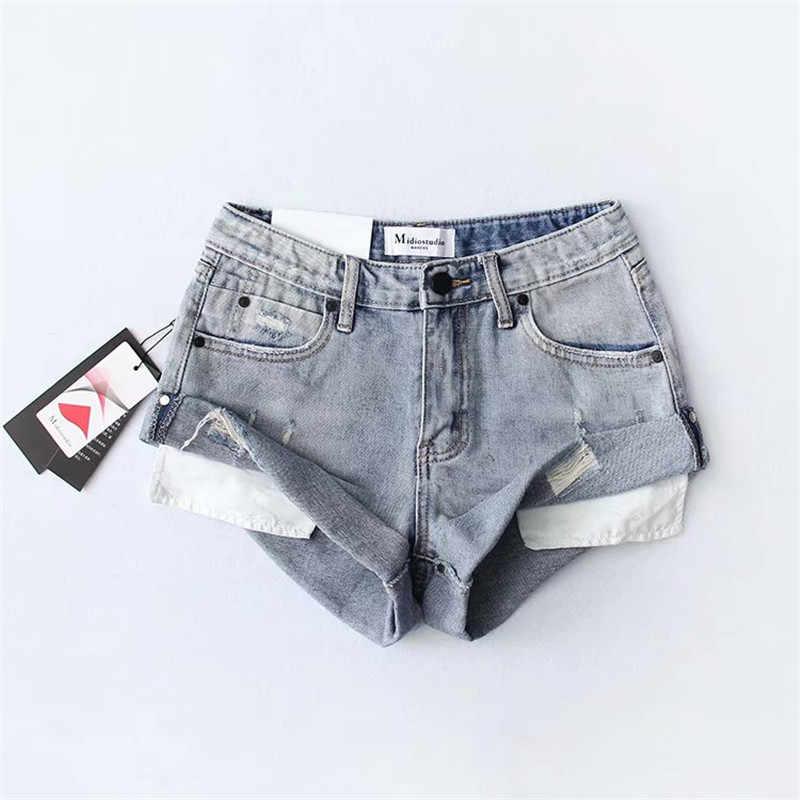 69ce1e40 Detail Feedback Questions about ripped hole fringe black denim shorts women  Casual Vintage Washed jeans shorts summer girl light blue hot short on ...