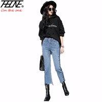 Thhone marke denim hosen jeans frauen hosen beiläufige unregelmäßige quaste gewaschen hohe taillenjeans weibliche