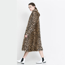 Leopard fur coat long section female long coat fur jacket women winter jacket women jacket with fur woman clothes 2016