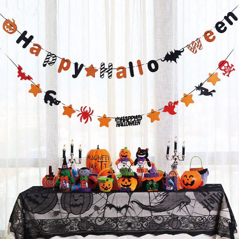 Theme Party Diy Black Spider Ghost Pumpkin Hangings Castle Bat Wall Sticker Hy Banners In Streamers Confetti From Home
