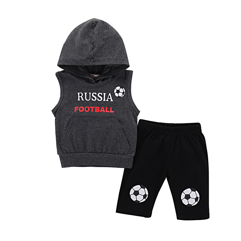 2018 Newborn Baby Boy Clothes Baby Set 2pcs Pullover Hooded Tops T-shirt Shorts Cotton Baby Boy Summer Clothes Sport Baby Suit ...