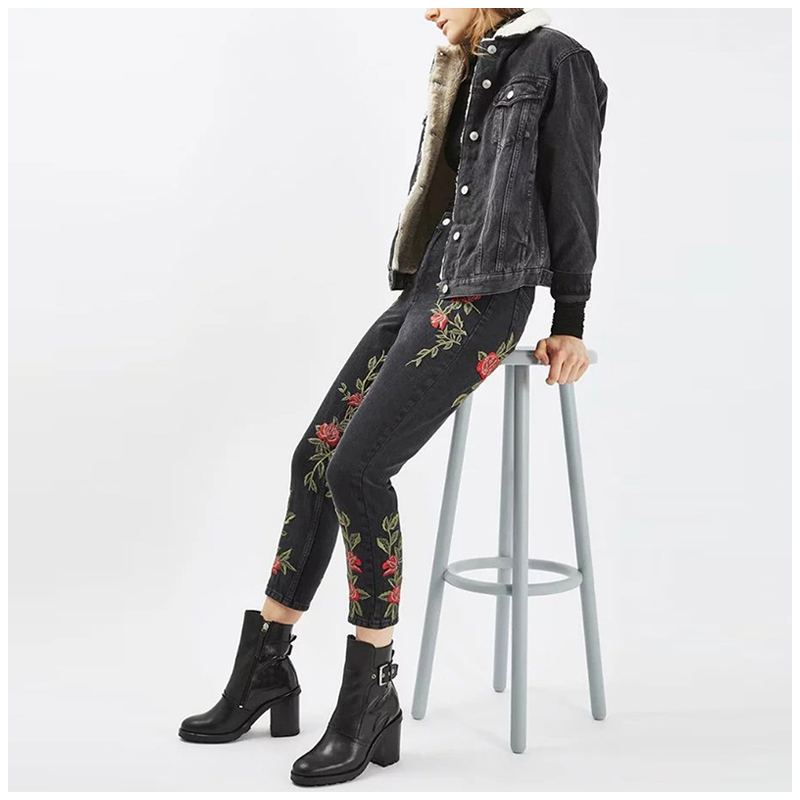 Floral embroidery Skinny Jeans Women Slim Denim Pencil Pants 2017 New Spring Autumn Casual Black Trousers Jeans Female Clothing 2017 spring new women sweet floral embroidery pastoralism denim jeans pockets ankle length pants ladies casual trouse top118