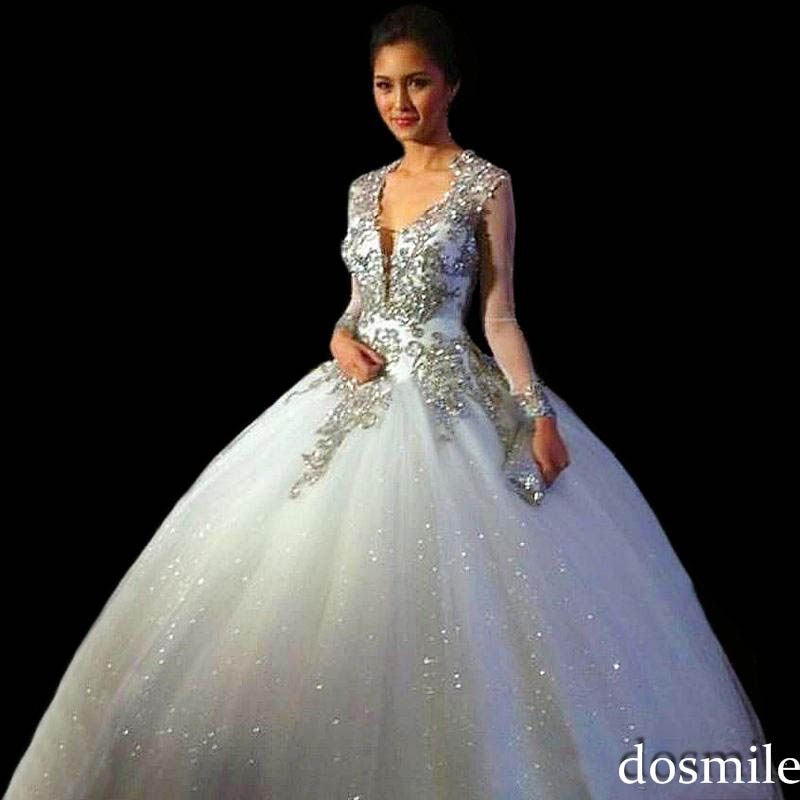 2016 gorgeous white long sleeve sweet 16 dresses Ball Gown silver ...