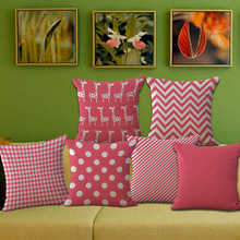 Free Shipping Wholesale 100% New Modern Pink Striped Giraffe Lattice Cushion Pillow on sofa for home decoration