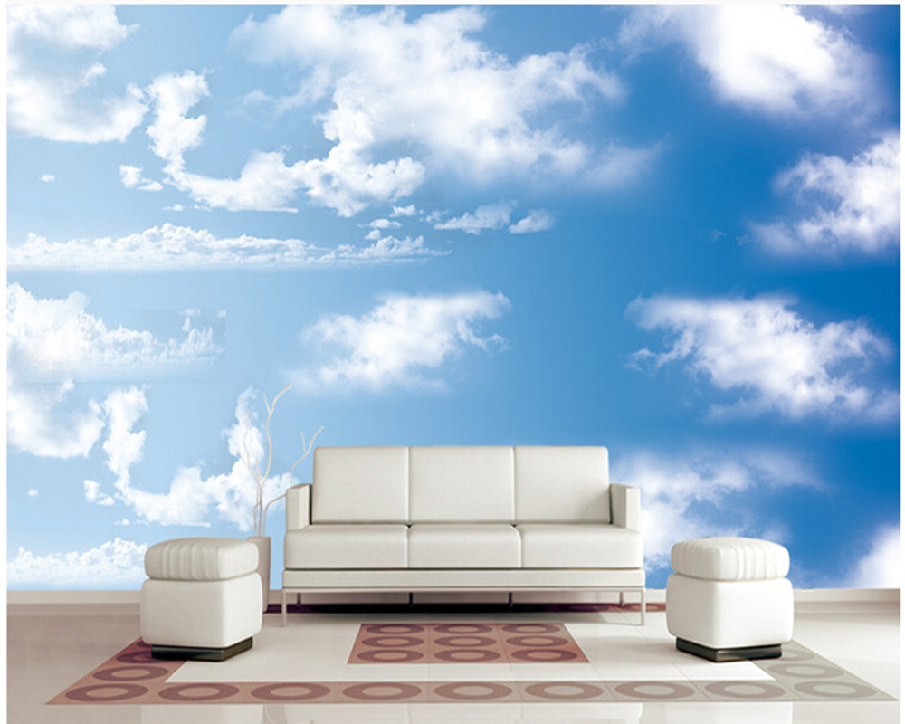 Custom papel DE parede infantil large murals blue sky white clouds to the sitting room T ...