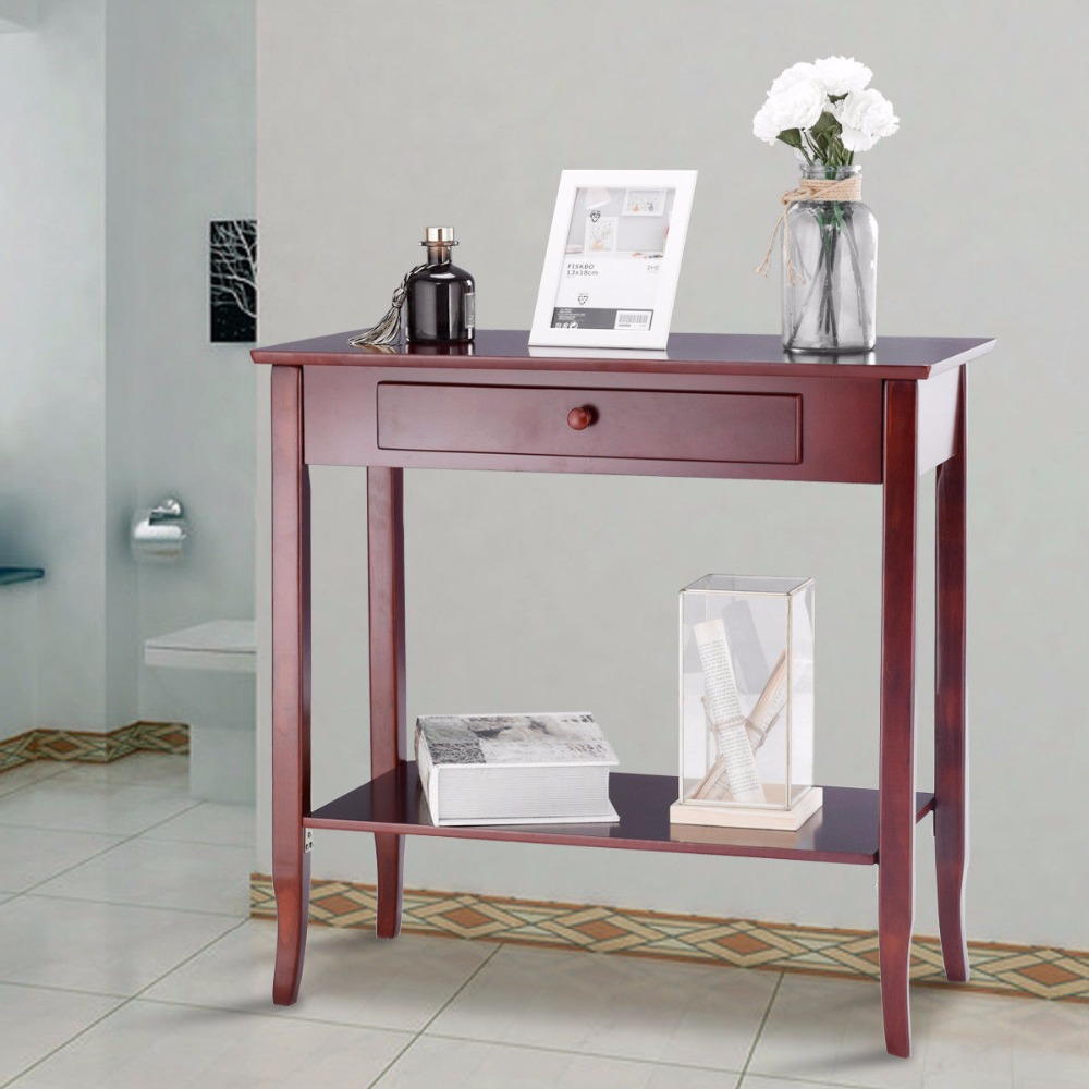 Giantex Console Table Classic 2 Tier Porch Table Lower Shelf Drawer Cherry Color Living Room Furniture HW57875Giantex Console Table Classic 2 Tier Porch Table Lower Shelf Drawer Cherry Color Living Room Furniture HW57875
