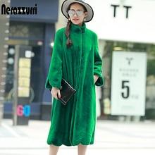 Nerazzurri długi puszysty ciepły płaszcz ze sztucznego futra kobiet 2020 stanąć kołnierz linii zima zielony czarny różowy plus rozmiar moda 5xl 6xl 7xl