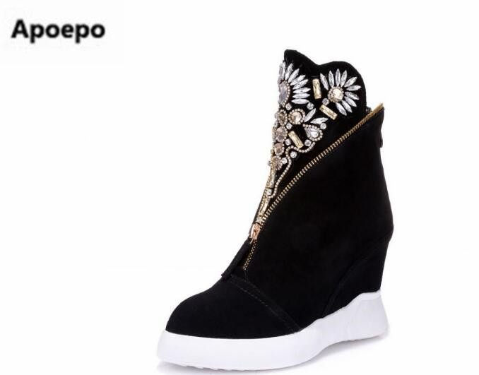 Selling brand design women shoes bling bling crystal black 7 cm high heels shoes women sneakers height increasing ankle boots 7 11 cm