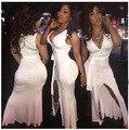 2016 Mujeres de La Manera Ocasión Especial Delantero de Split Bodycon Del Vendaje Vestidos de Noche de Verano Estilo Casual vestidos de Fiesta Vestidos vestido
