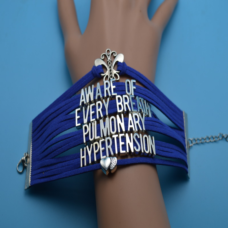 Butterfly Double Heart Aware Of <font><b>Every</b></font> <font><b>Breathe</b></font> Pulmonary Hypertrnsion Cancer Bracelets Multi Layers Blue Velvet Customize Bangles