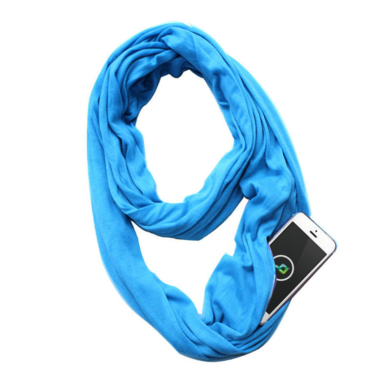 Men Portable Scarf New Fashion Women Zipper Pocket Infinity All Match Convertible Travel Journey Scarves Party Gift Sc3001 Apparel Accessories
