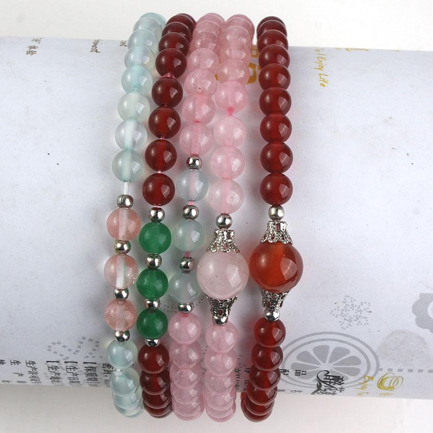 xinshangmie 6mm natural minimalist watermelon red aquamarines agates healing bracelet aquamarines charm jewelry for gift