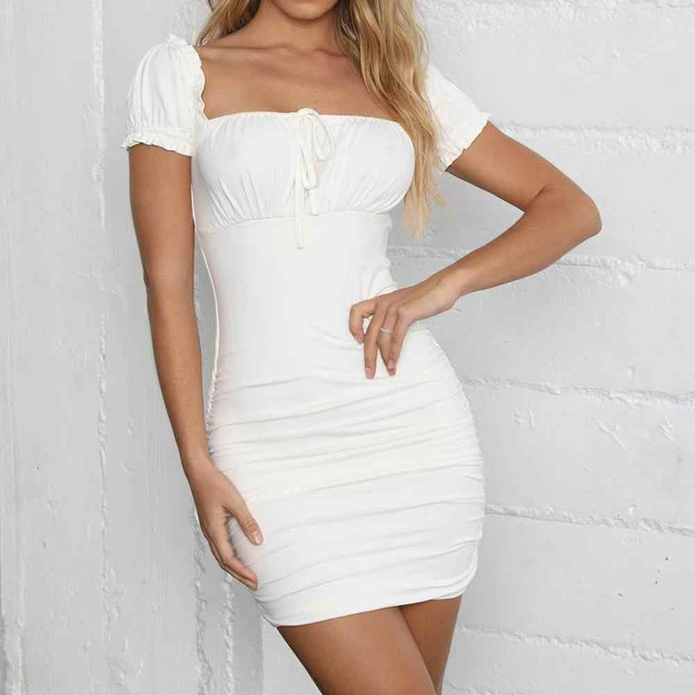 Vestidos Sexy Summer Women Dress Vintage Fashion Summer Solid Square Neck Short Sleeve Lace Up Ruched Bodycon Mini Party Dress