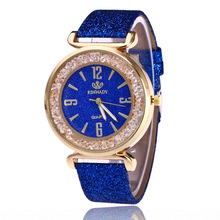 2017 RINNADY Fashion Leather Strap Women Rhinestone Wrist Watch Casual Women Dress Watches Watched Relogio Feminino Reloj Mujer