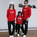 Family Matching Clothes Spring Autumn 2pc Set  Family Parent-child Clothing T-shirt and Pants Set Red/Blue