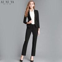 Black Womens Business Suits Ladies Spring Formal Suits Office Uniform Designs Women Trouser Suit Female Formal Wear Suits