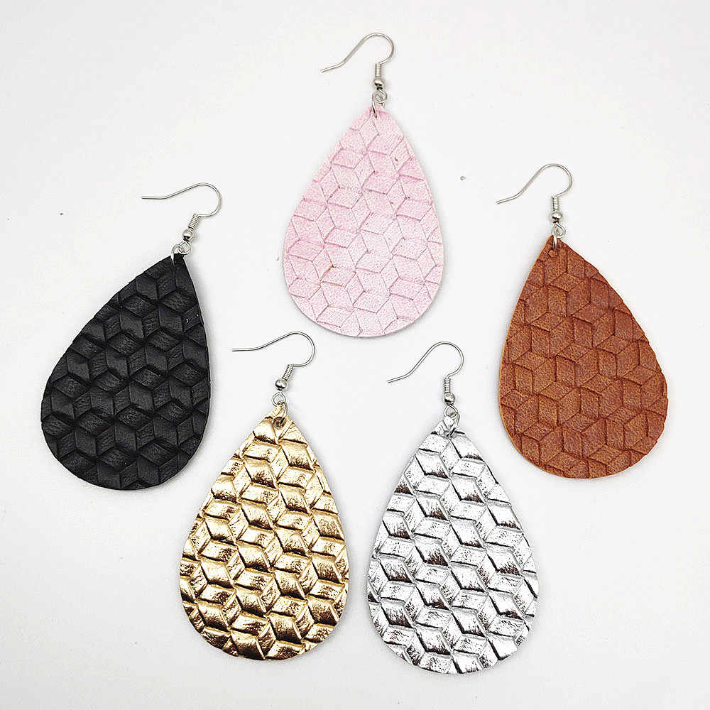 2019 Woven leather earrings Real Leather Statement Earrings for Women fashion Jewelry 5 color Weaving Drop Earrings A667-A671