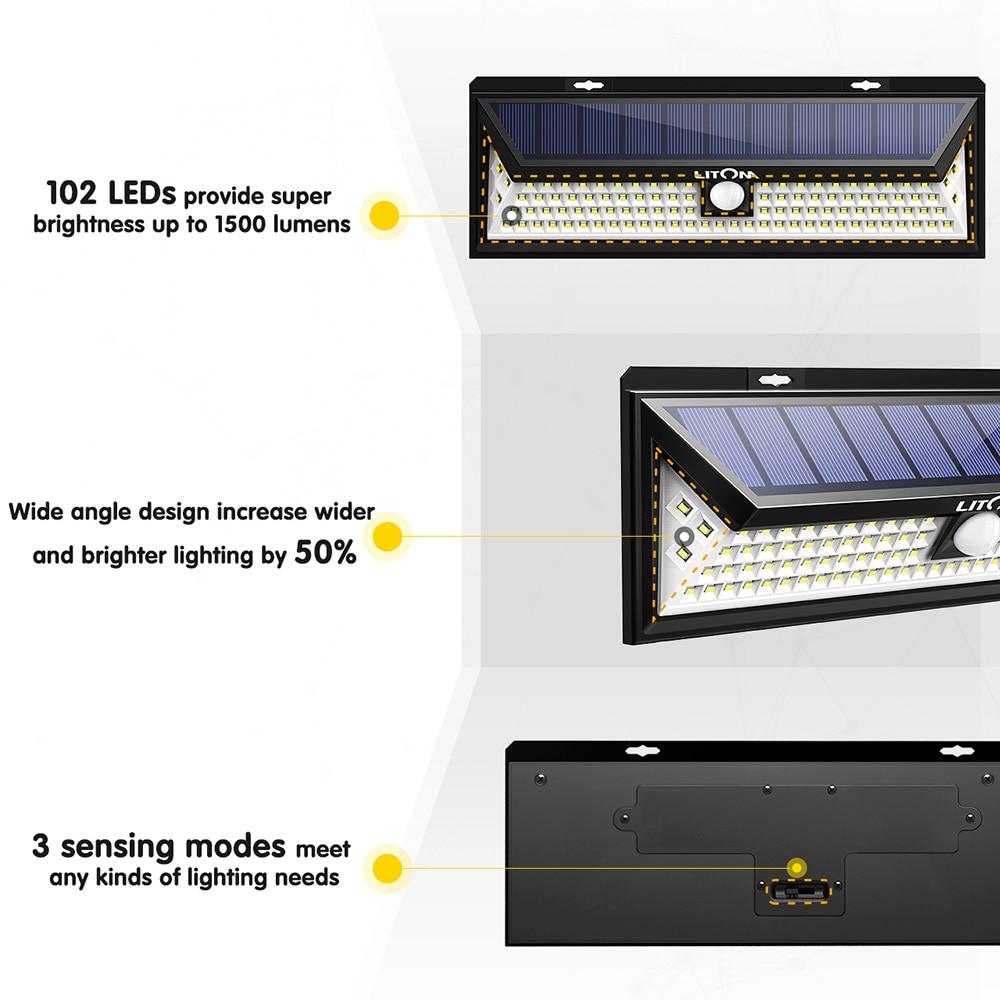 Litom CD126 120W Solar Lights Outdoor Motion Sensor Night Security Wall Lamp 102 LED Light Waterproof Energy Saving Garden Yard