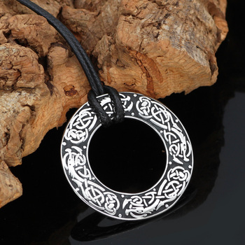 Nordic Viking Amulet Dragon Dreki Jormungand Round Pendant Necklace  Viking Necklace