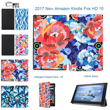 """MTT Rose Petals Case For Amazon Fire HD 10 2017 10.1"""" inch Tablet For Kindle Fire 10 Case Leather Smart Stand Protective Cover"""