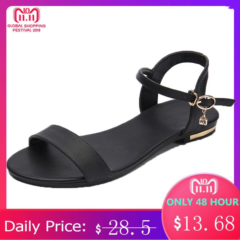 MORAZORA Plus size 34-46 New genuine leather sandals women shoes fashion flat sandals cow leather summer rhinestone ladies shoes big size 32 43 brand new 2016 summer sandals for women rhinestone casual retro sweet ladies fashion leisure shoes flat sandals